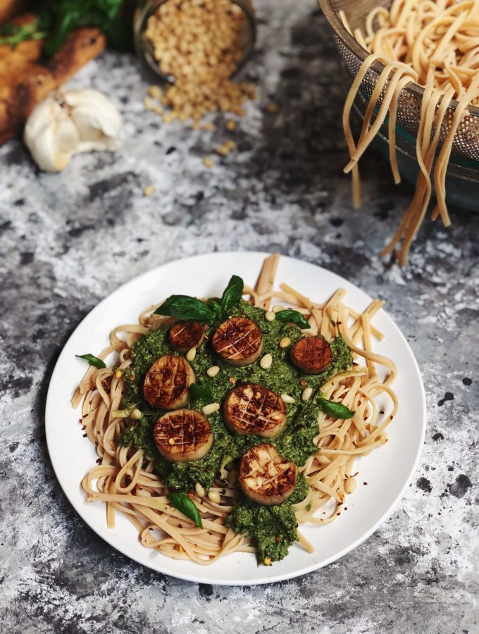 King Oyster Mushroom Scallops Over Simple Pesto Pasta (Vegan + Gluten-Free)