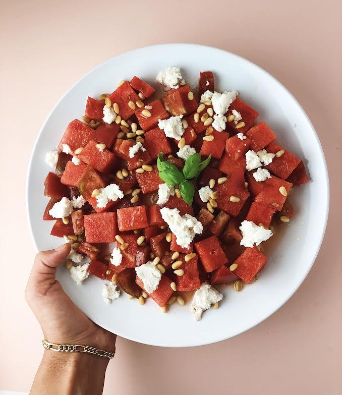 Watermelon, Tomato, Vegan 'Ricotta' Salad (Gluten-Free)